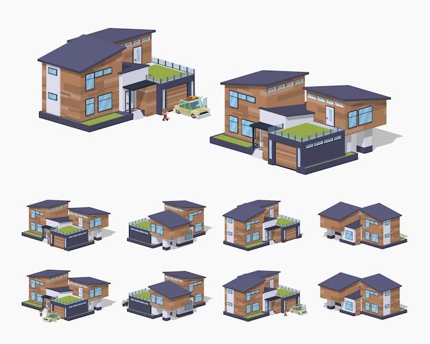 Maison isométrique américaine lowpoly 3d contemporaine