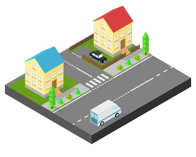 Maison isométrique. deux maisons dans la même rue. trottoir avec des arbres, la route la voiture. la cour est clôturée avec une clôture en bois.