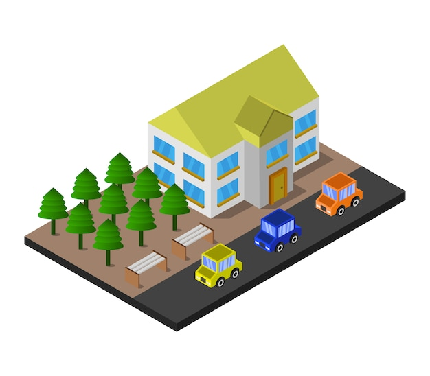 Maison isométrique et forêt