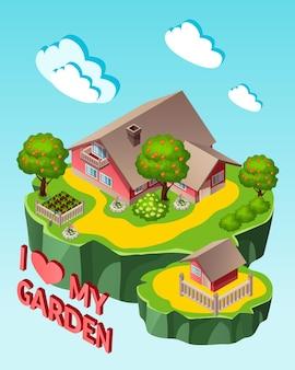 Maison isométrique avec illustration de jardin