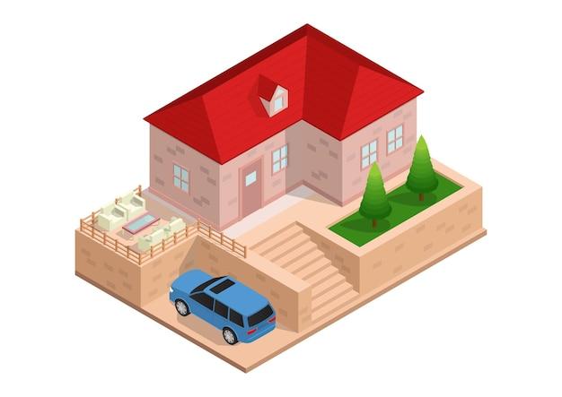 Maison isométrique avec voiture et parking.