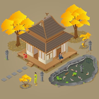Maison japonaise isométrique