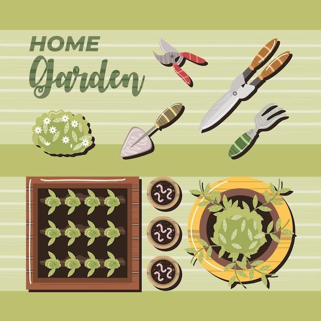 Maison jardin ciseaux truelle râteau bush fleurs vers illustration vue de dessus