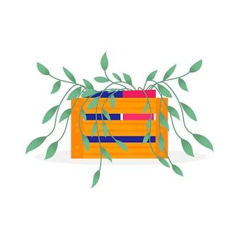 Maison & jardin. collection de fleurs colorées botaniques, pot de fleurs lumineux. plante d'intérieur avec des feuilles. éléments isolés sur fond blanc. illustration vectorielle plane