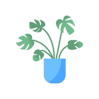 Maison & jardin. fleur colorée botanique, pot de fleurs lumineux. plante d'intérieur avec des feuilles, cactus succulent. élément isolé sur fond blanc. illustration vectorielle plane