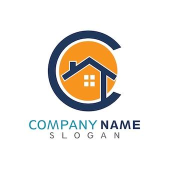 Maison en lettre c initiale logo template