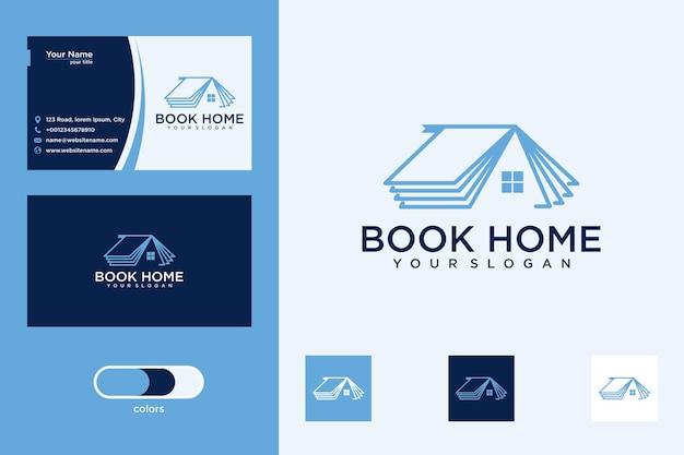 Maison de livre avec conception de logo de style de ligne et carte de visite