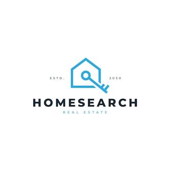 Maison et logo de recherche de clé pour agent immobilier