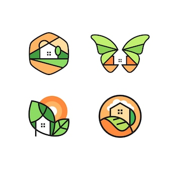 Maison logo set vector