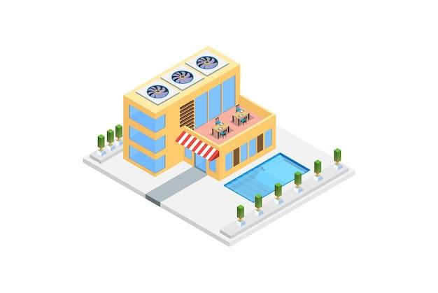 Maison de luxe isométrique moderne avec piscine