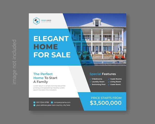 Maison maison appartement vente publication sur les réseaux sociaux vecteur premium
