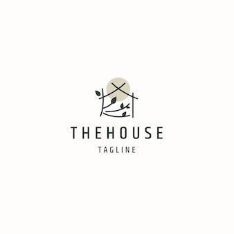 Maison ou maison cabine chalet logo icône modèle de conception illustration vectorielle plane