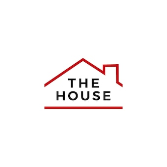 Maison maison immobilier hypothèque toit cheminée logo vector icône illustration