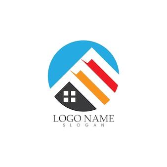 Maison et maison, propriété et construction logo design