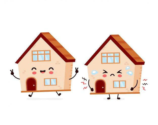 Maison mignonne heureuse souriante et triste. conception d'illustration de personnage de dessin animé plat. construction de maison, concept de maison