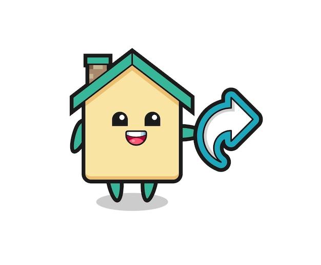 La maison mignonne tient le symbole de partage de médias sociaux, conception mignonne