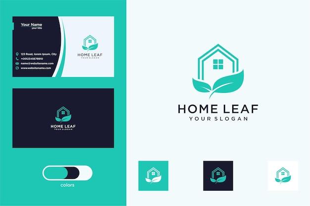 Maison moderne avec création de logo de feuille et carte de visite