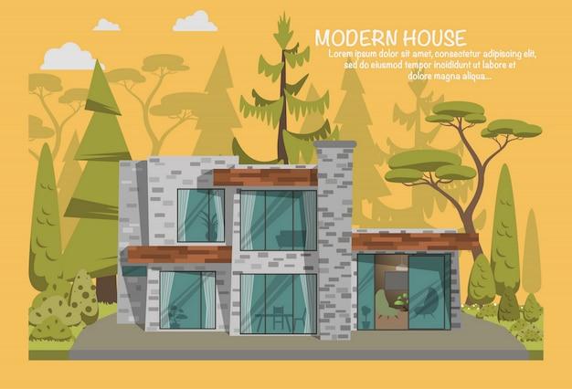 Maison moderne en forêt.