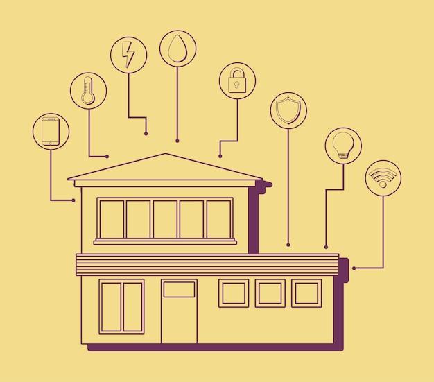 Maison Moderne Avec Des Icônes Connexes Maison Intelligente Vecteur Premium