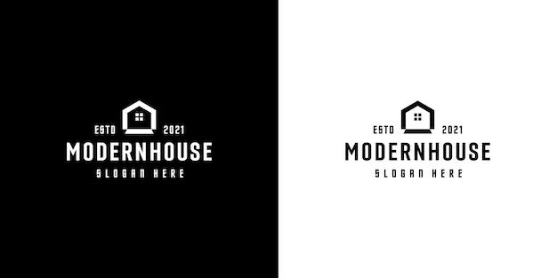 Maison moderne ou logo maison style de ligne concept design vectoriel