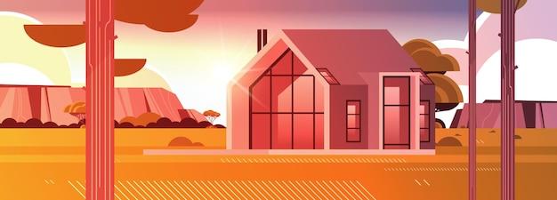 Maison moderne de panneaux sandwich avec de grandes fenêtres panoramiques construction de maisons contemporaines respectueuses de l'environnement concept de logement modulaire illustration vectorielle horizontale