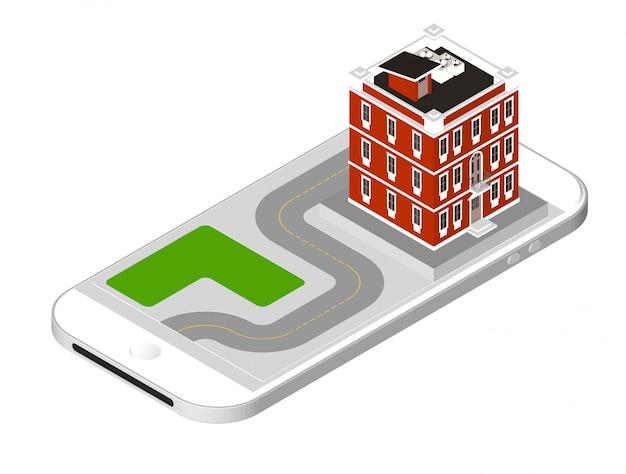 Maison moderne avec une route debout sur l'écran du smartphone. habitation urbaine bâtiment avec fenêtres et climatisation. illustration vectorielle isolée