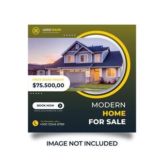 Maison moderne à vendre sur les réseaux sociaux et modèle de publication instagram vecteur premium