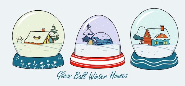 Maison de neige en hiver globe glass ball illustration set