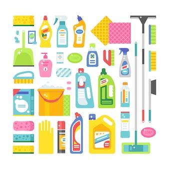 Maison nettoyage hygiène et produits plats vector icons set