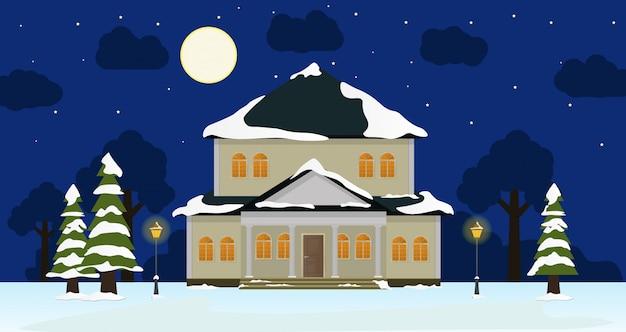 Maison de nuit d'hiver, arbres de neige, buisson, nuages, illustration de dessin animé plat lanterne