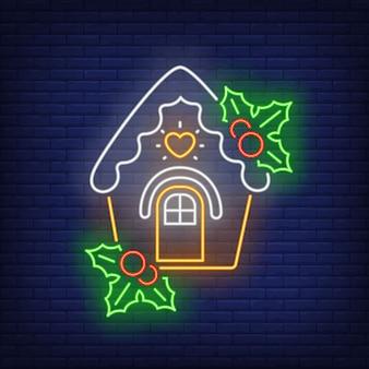 Maison en pain d'épice avec gui dans un style néon