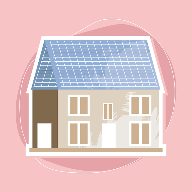 Maison avec panneau solaire