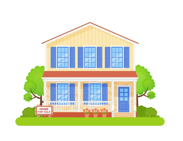 Maison avec panneau à vendre. illustration en plat.