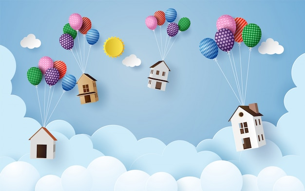 Maison de papier de concept entreprise suspendus avec ballon coloré,
