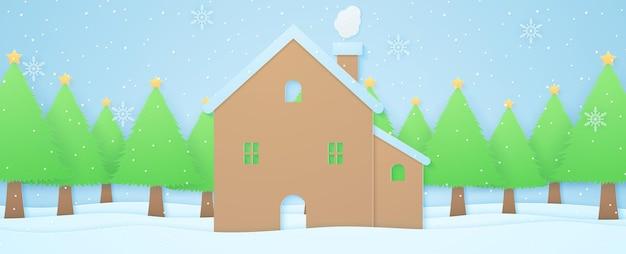 Maison de paysage d'hiver et arbres de noël sur la neige avec des chutes de neige et un style d'art en papier de flocon de neige