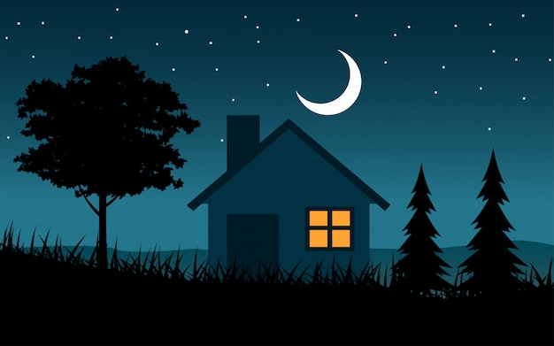 Maison en paysage de nuit