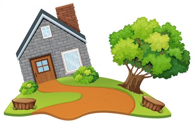 Une maison en pierre dans la nature