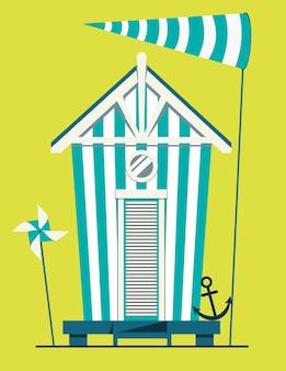Maison de plage. cabane sur la côte.