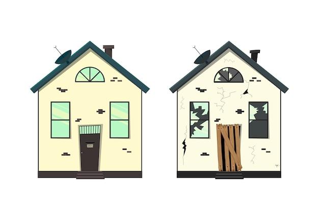 Maison de plain-pied avant et après réparation