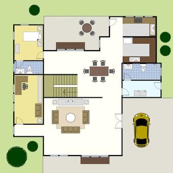 Maison de plan d'architecture de plan d'étage.