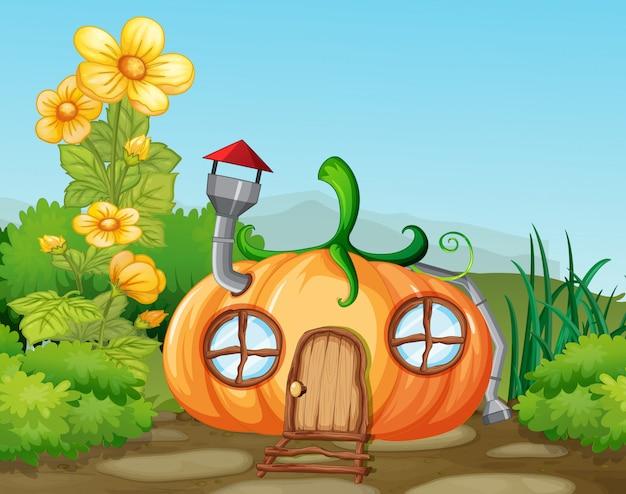 Maison de potiron enchantée dans la nature