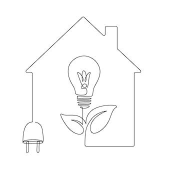 Maison avec prise et ampoule en forme de plante un dessin au trait