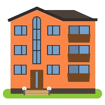 Maison privée avec un toit marron et des murs orange sur fond blanc. illustration vectorielle.