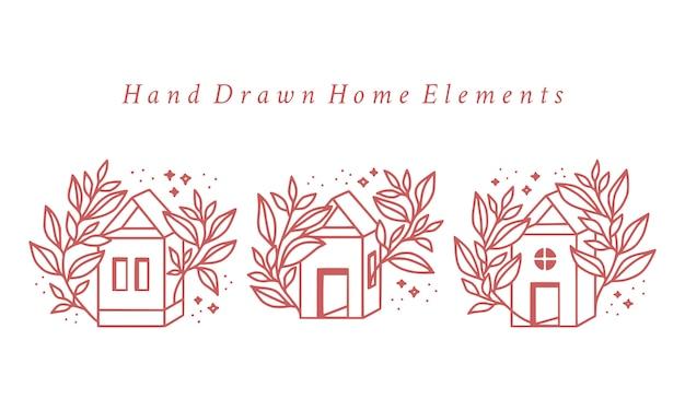 Maison rose dessinée à la main et collection d'éléments de logo floral botanique