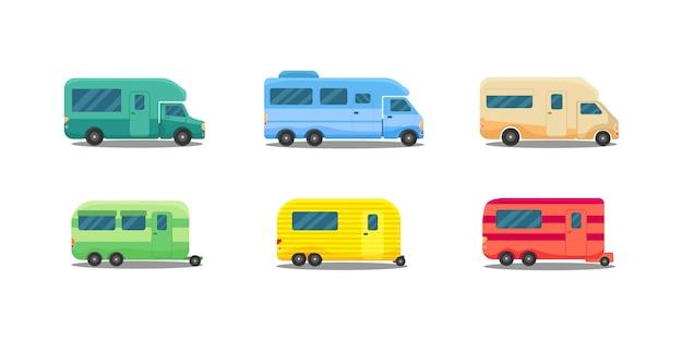 Maison sur roues. voitures anciennes, camping-car de bus.