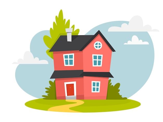 Maison rouge avec toit sombre et arbres autour