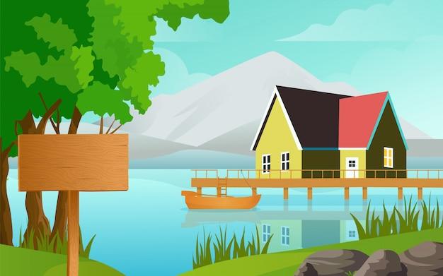 La maison se tenait sur la rive du lac sur le fond de la vieille clôture et illustration vectorielle de bateau. bateau sur le lac et planche de bois gratuite