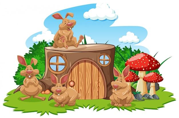 Maison de souche avec style de dessin animé de trois souris