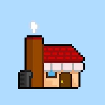 Maison de source chaude avec style pixel art