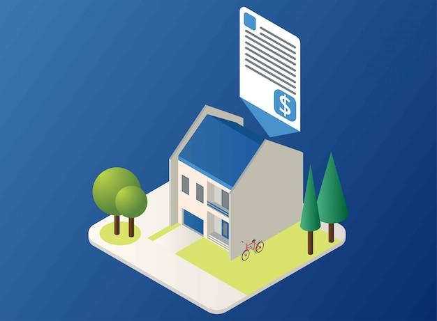 Une maison avec spécification et prix, illustration isométrique